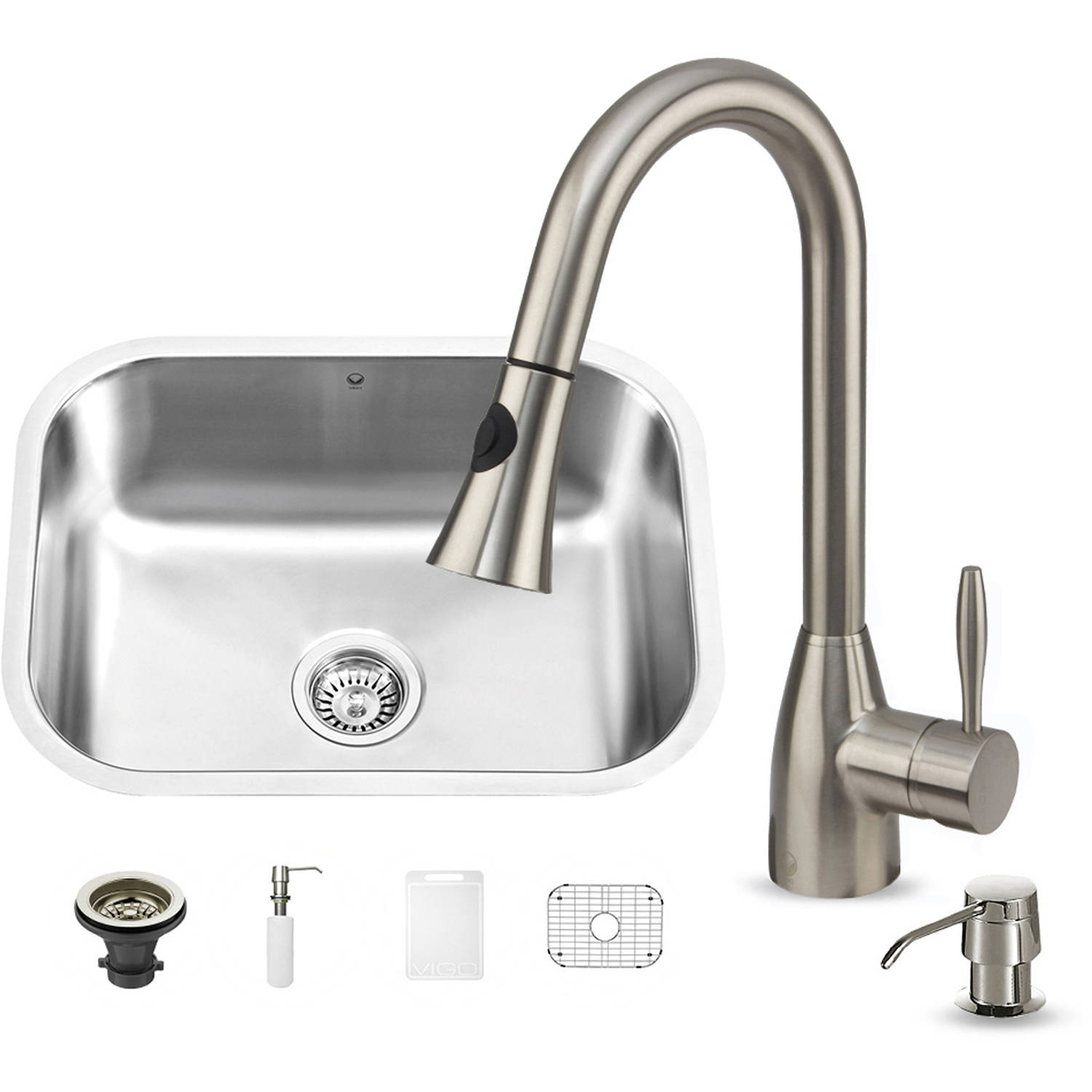 Undermount Stainless Steel Kitchen Sink, Faucet and Grid Set