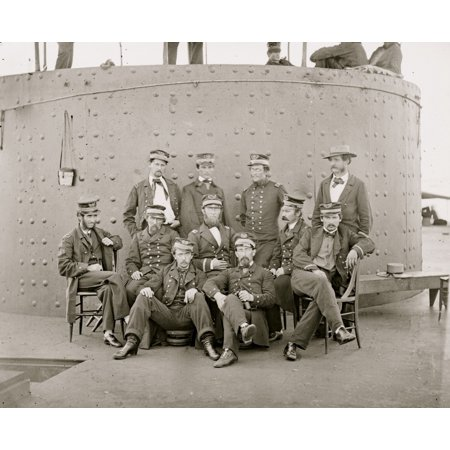 James River Va Sailors On Deck Of Uss Monitor Cook Stove At Left Poster Print