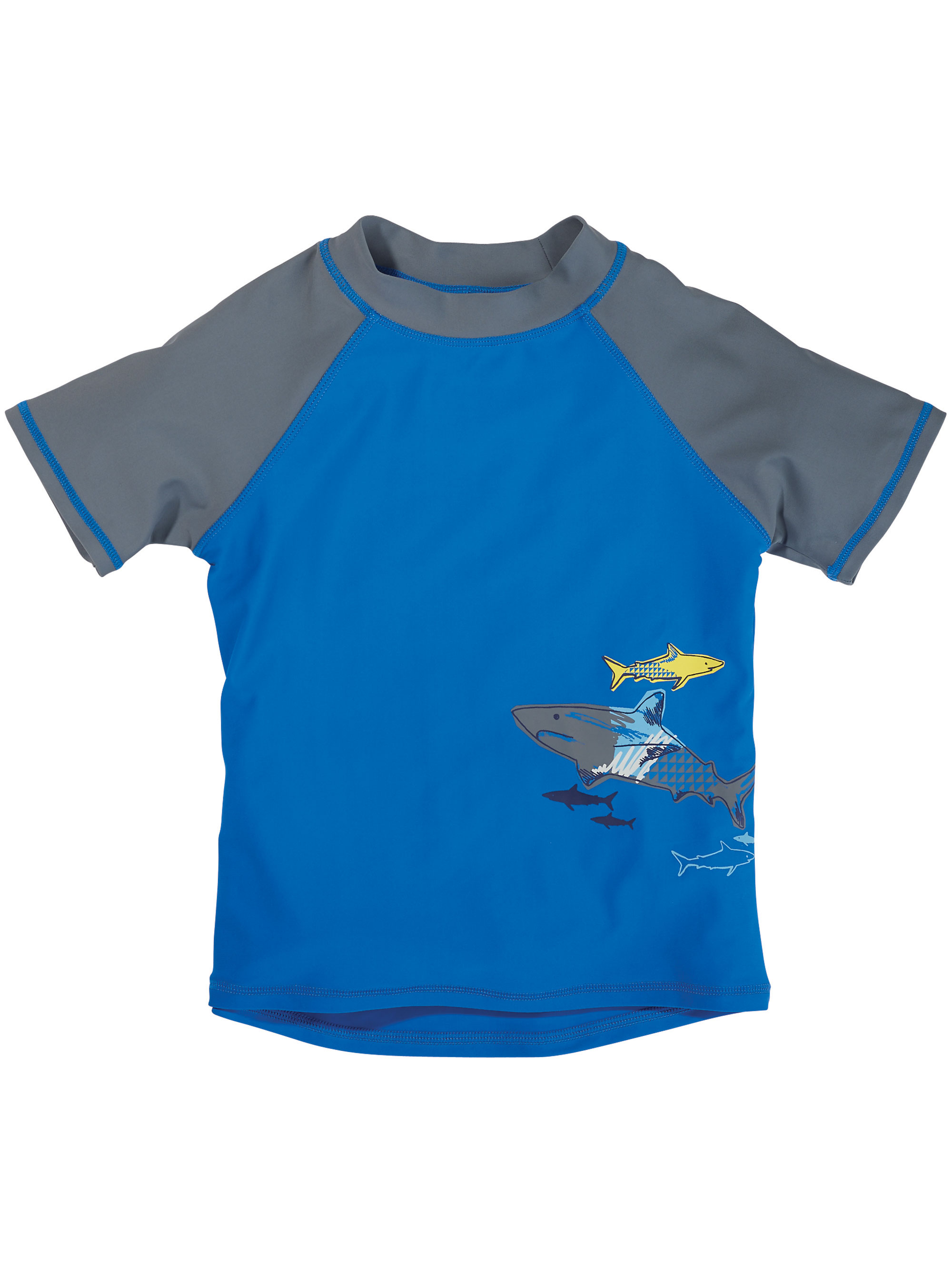 Sun Smarties Baby and Toddler Boy Rashguard - Blue and Gray with Shark Design - UPF 50+ Short Sleeve Swim Shirt