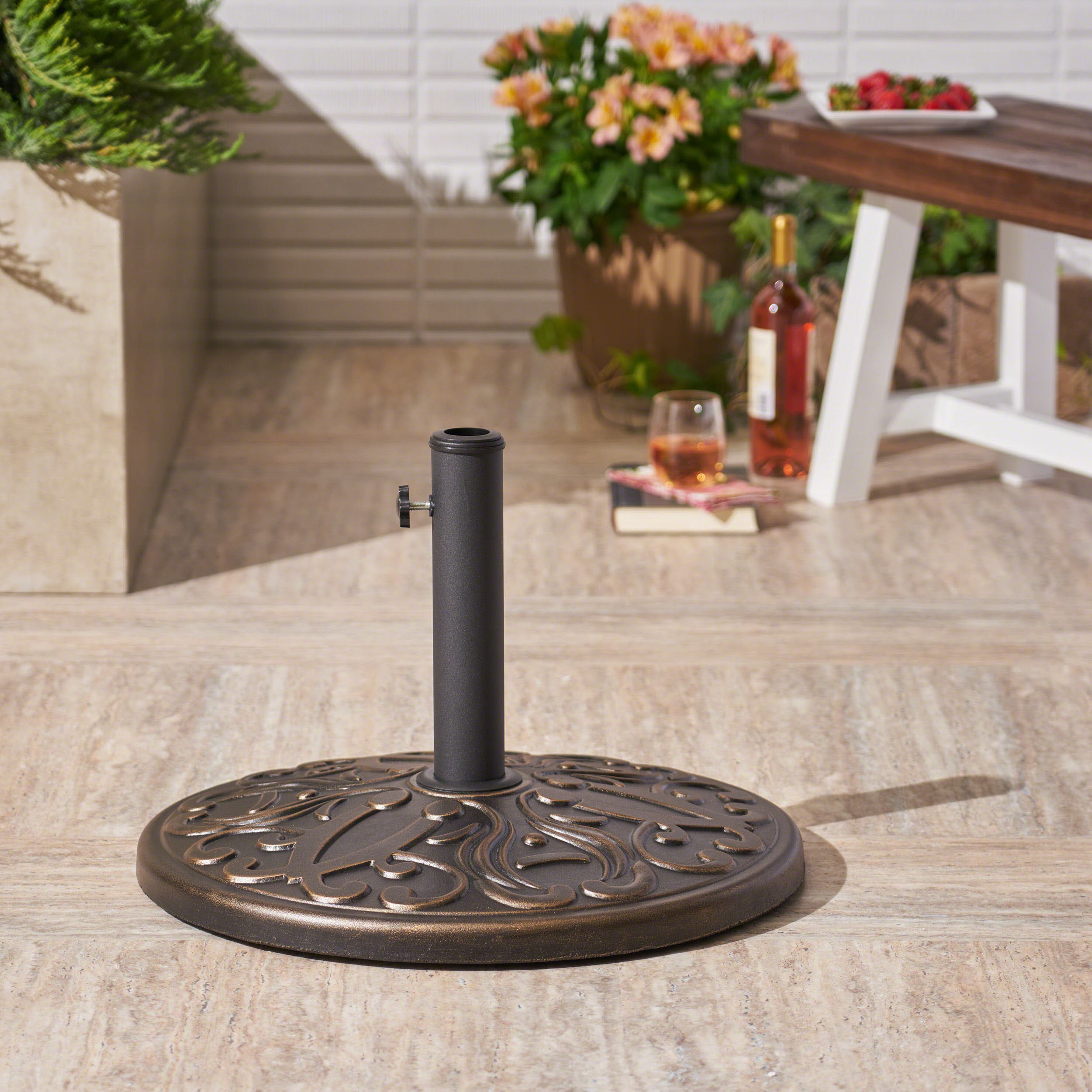 Outdoor 60lb Concrete Circular Umbrella Base, Hammered Dark Copper