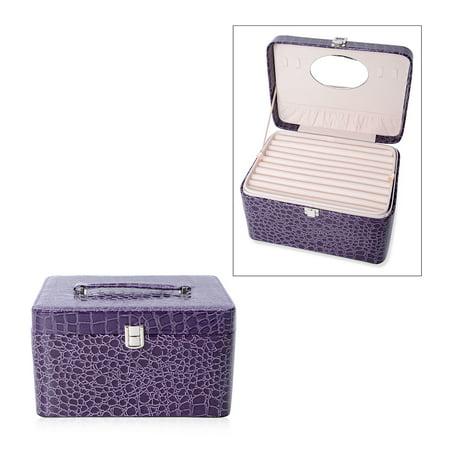 Purple Crocodile Skin Pattern Faux Leather 3 Layer Trinket Jewelry Organizer Box Storage Organizer with Lock Crystal Purple Trinket Box