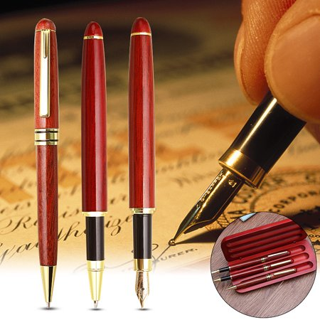 3Pcs/Set High-class Maple Wood Fountain Ink Pen Gel Pen Ballpoint Pen Writing Sign Smooth Nib with Wooden Gift Box