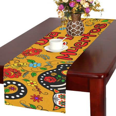 MYPOP calavera cats and sugar skills for Day of the Dead Table Runner 16x72 inches (Day Of The Dead Table)