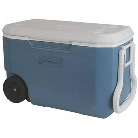 Coleman 62 Quart Wheeled Cooler, Blue/White