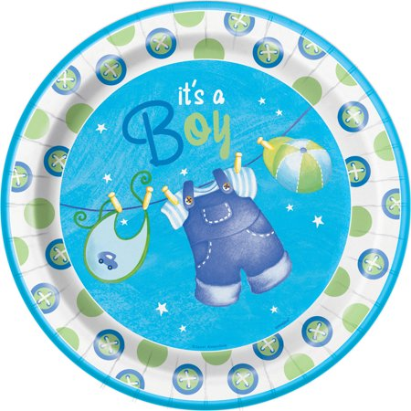 Clothesline Baby Shower Plates, 9 in, Blue, - Baby Shower Plates