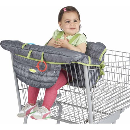 Nuby Quilted Shopping Cart Cover This Nuby Quilted Shopping Cart Cover helps keep your child secure, comfortable and germ-free. It installs in seconds and completely covers a cart and high chair seat. The baby cart cover features holders that will allow your child to play with their favorite toys as you shop together. It will fold up easily to take with you on the go. The toddler shopping cart cover has a blend of neutral tones that can work for both little girls and boys. Its soft material makes it a cozy seating option for your child. With its versatile construction, this cover will give you all sorts of usage. The Nuby Quilted Shopping Cart Cover even has a convenient storage pocket on the front for your accessories.