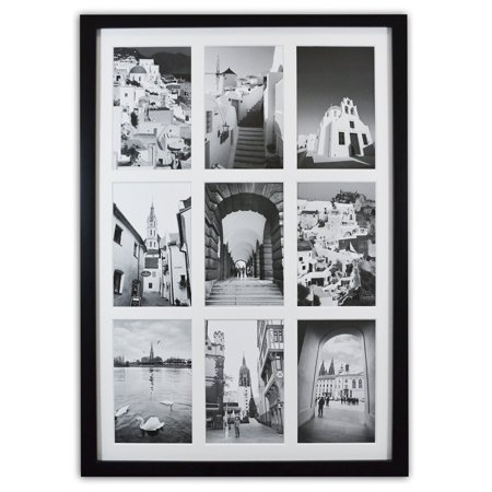 Golden State Art  13 6X19 7 Black Photo Wood Collage Frame With Real Glass And White Mat  Displays  9  4X6 Pictures