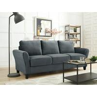 Lifestyle Solutions Alexa 3-Seat Rolled Arm Microfiber Sofa, Dark Grey