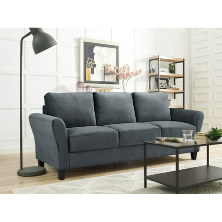 Lifestyle Solutions Alexa 3-Seat Rolled Arm Microfiber Sofa, Dark Grey