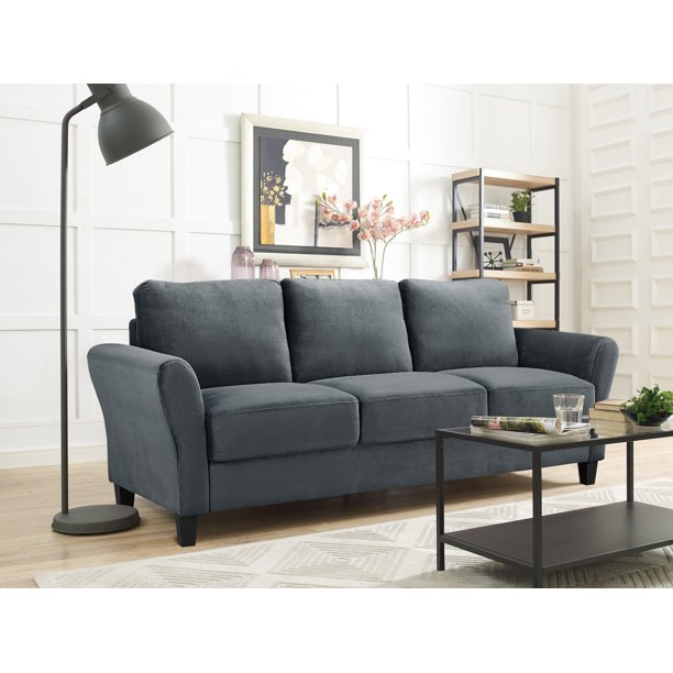 3 Seat Rolled Arm Microfiber Sofa Dark