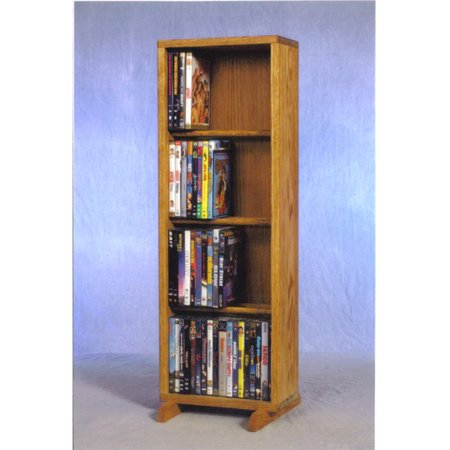 The Wood Shed Solid Oak 4 Row Dowel 80 DVD Media Cabinet