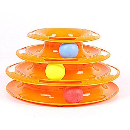 AngelCity 3-layer Pet Interactive Funny Crazy Puzzle Ball Disk Turntable Toys For Cat