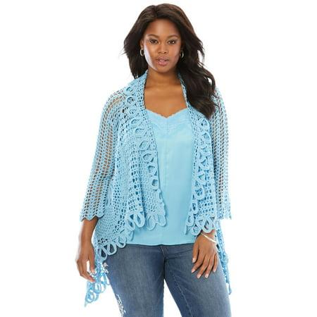 eb992b44724 Roaman s Denim 24 7 - Plus Size Crochet Starburst-stitch Cardigan -  Walmart.com