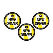 Zone Tech New Driver Round Magnetic Vehicle Car Sign 3 Pack