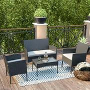 Cloud Mountain 4 Piece Patio Furniture Sets Rattan Wicker Outdoor Conversation Set Pool Backyard Lawn Use, Black Wicker with Beige Cushions