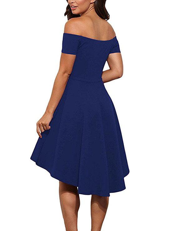 Vista - Women Off The Shoulder Short Sleeve High Low Cocktail Skater Dress  - Walmart.com 3c7ef4f3f