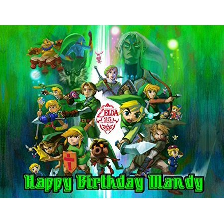 Legend of Zelda Edible Image Photo Cake Frosting Icing Topper Sheet Personalized Custom Customized Birthday Party - 1/4 Sheet - - Party Capes