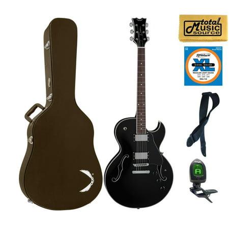 Dean Guitars Colt Semi-Hollow Body Electric Guitar, Classic Black , COLT CBK ,HSBNPACK Brown Case