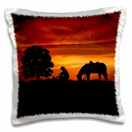 3dRose Cowboy Campfire with Horse on a Hill at Sunset has a Western feel. - Pillow Case, 16 by
