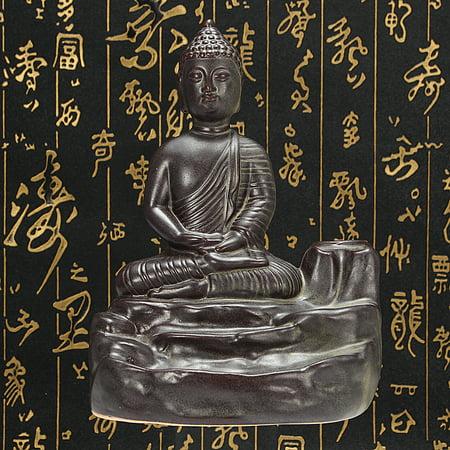 Home Buddha Incense Burner Holder Buddhist Statue Smoke Backflow Cone Censer Gifts - image 1 de 7