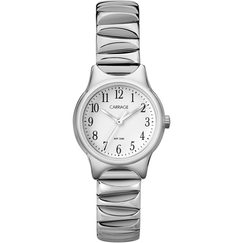 Carriage by Timex Women's Silver Tone Watch, Stainless-Steel Expansion Band
