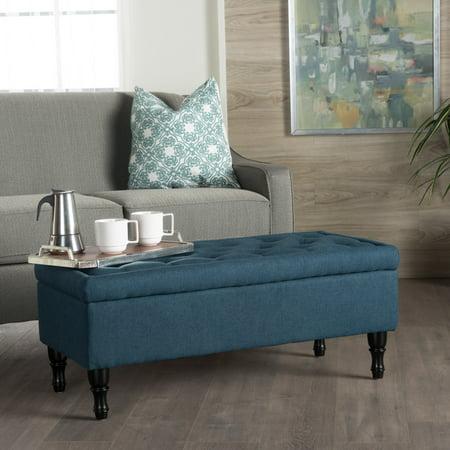 noble house bauer fabric storage ottoman navy blue. Black Bedroom Furniture Sets. Home Design Ideas