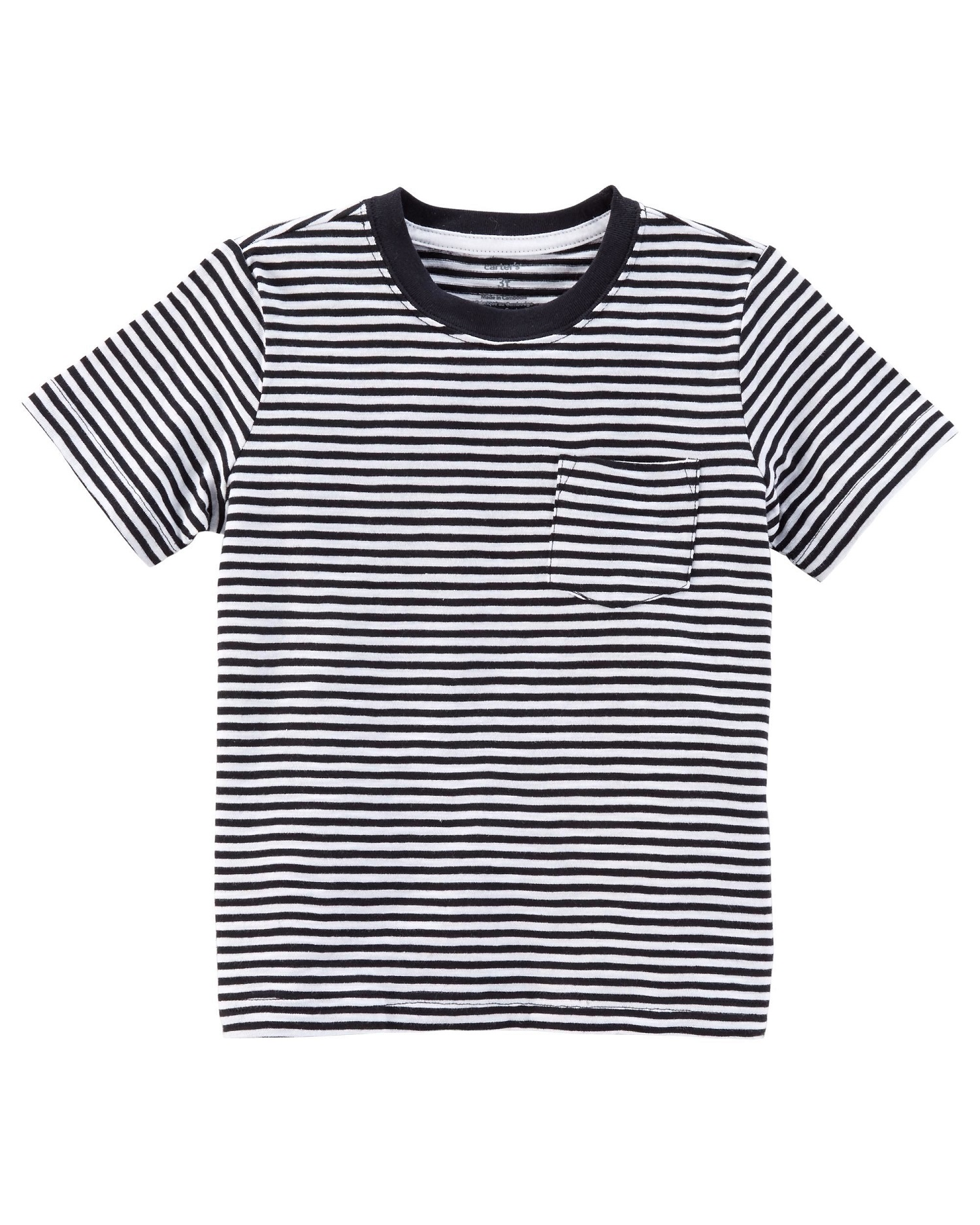 Carter's Little Boys' Striped Slub Jersey Tee, Black/White Stripe