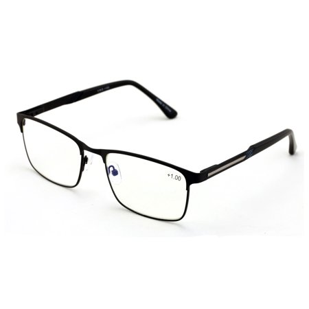 Men Rectangular Stainless Steel Reading Glasses Anti Blue Ray Lens - Computer Reader - Wide (Mens Glasses Wide Face)