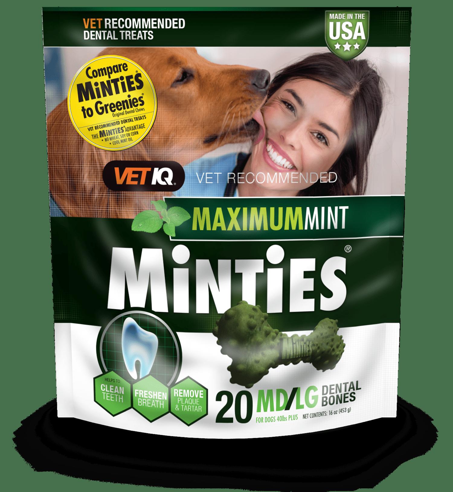 Minties Teeth Cleaner Dental Dog Treats Medium Large 20 Count Walmart Com Walmart Com