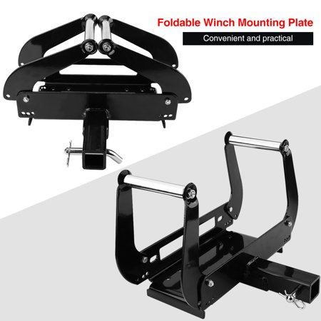 """EECOO Foldable Winch Mounting Bracket Mount Plate Cradle for Truck Trailer ATV 4WD 2"""" Hitch Receiver"""