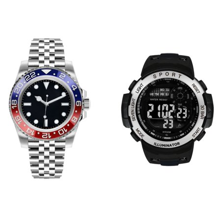 George Dress & Casual Analog Quartz Watch Set - Silver with Blue and Red and Black