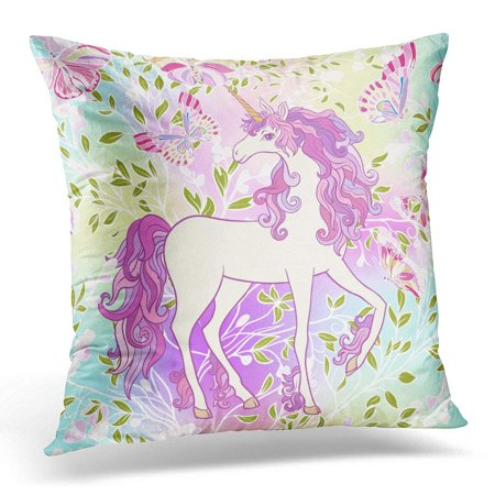 ARHOME Unicorn with Multicolored Mane Butterfly Rainbow Star and Love Heart in Purple and Pink Colors Pillow Case Pillow Cover 20x20 inch ()