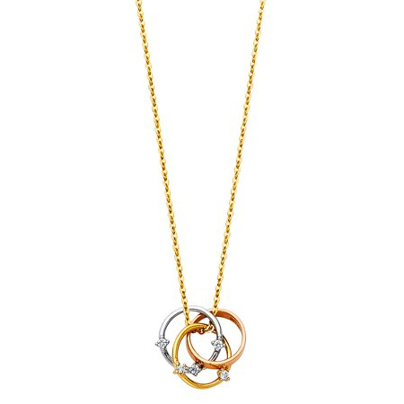 Ioka - 14K Tri Color Gold Trinity Interlocking 3 Circle Infinity Love Knot Rings with Cubic Zirconia CZ Pendant Chain Necklace - 17+1