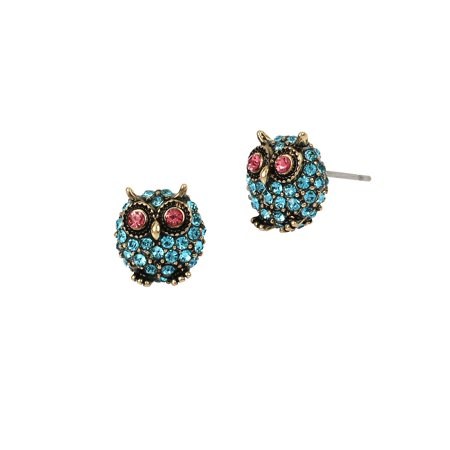 Delicates Pave Owl Stud Earrings
