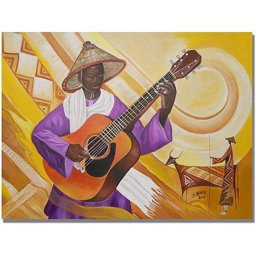 "Trademark Fine Art ""Guitarist in Traditional Attire"" Canvas Wall Art by Djibrirou Kane"
