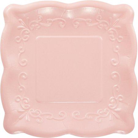 Pack of 48 Pink Linen Premium Disposable Paper Square Party Lunch Plates - Party Paper Plates