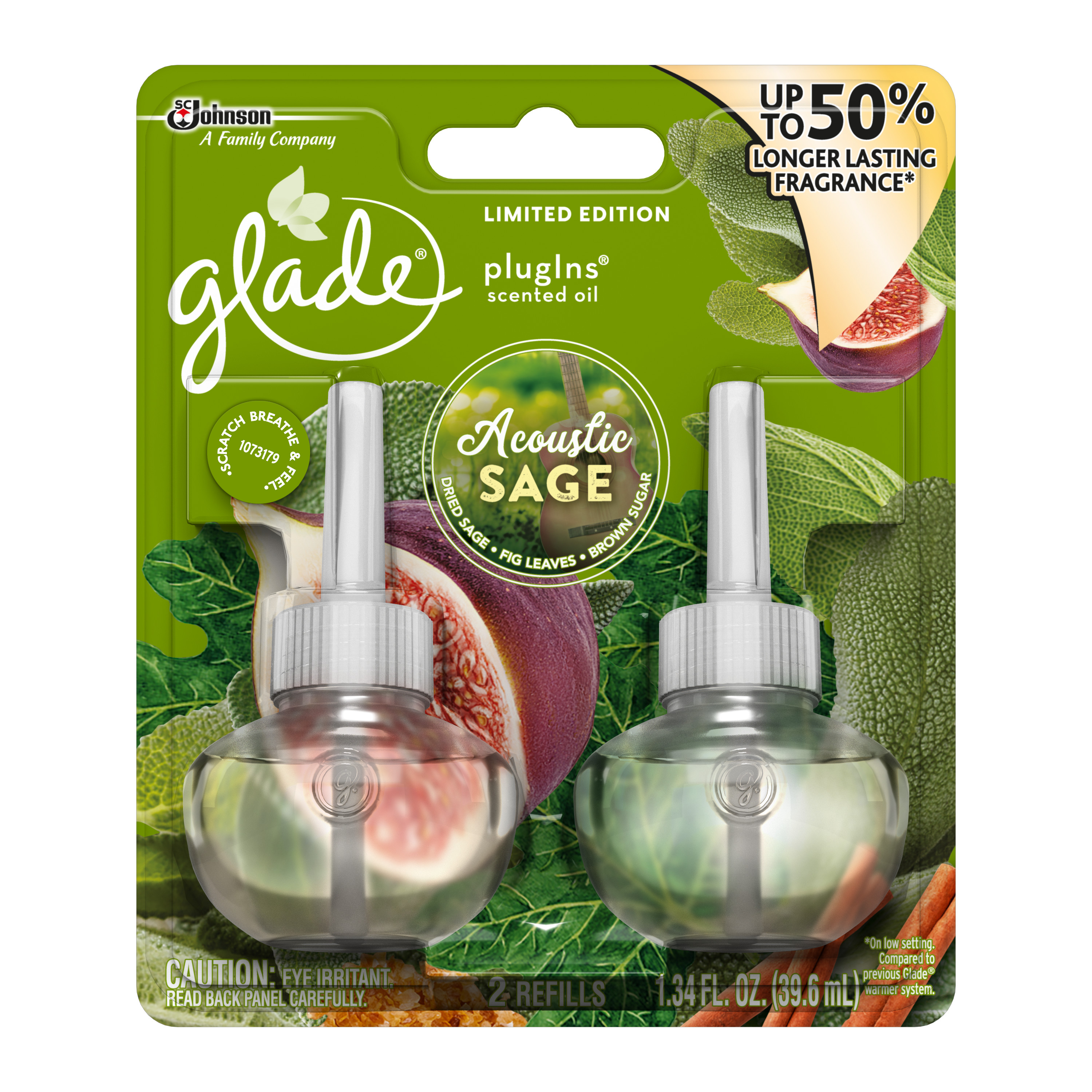 Glade PlugIns Scented Oil Air FreshenerRefill, Acoustic Sage, 1.34 fl oz, 2 ct
