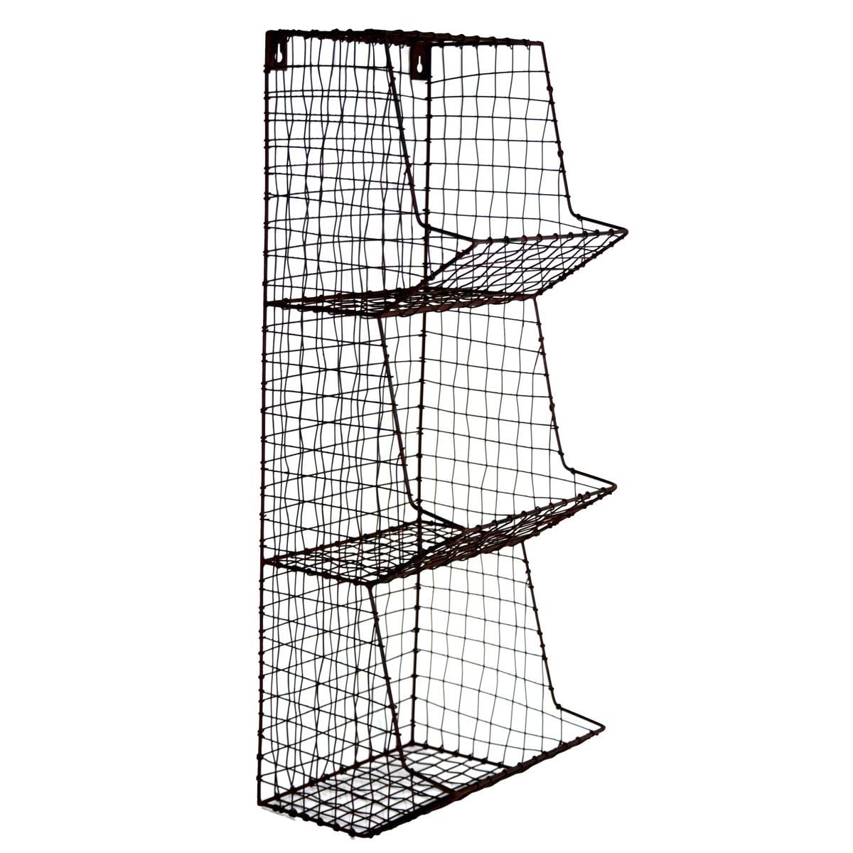Wire Wall 3 Storage Bin Fruit/Vegetable Basket Primitive Rustic ...