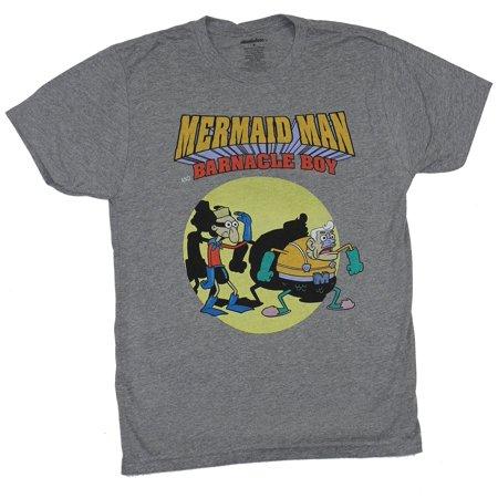Spongebob Squarepants Mens T-Shirt - Mermaid Man & Barnacle Boy Duo Image - Spongebob Boy Shorts