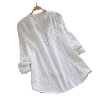 - Women V Neck Baggy Loose Cotton Tops T Shirts Plus Size Long Sleeve Tunic Blouse