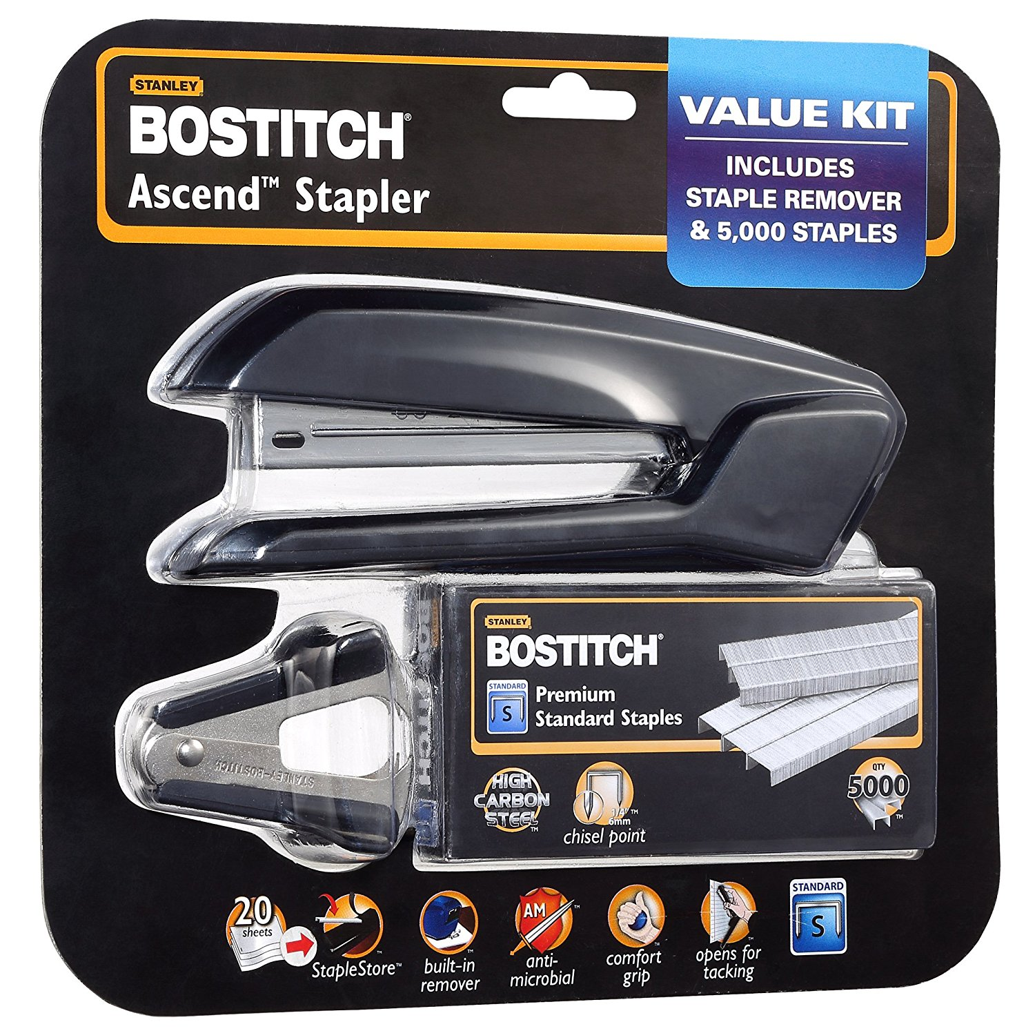 Bostitch Ascend™ Desktop Stapler with Built-in Staple Remover Value Pack, Assorted Colors
