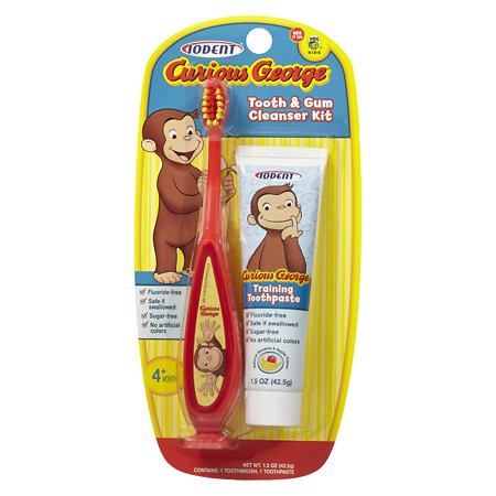 IODENT Curious George Toothbrush & Toothpaste 1.0 ea(pack of 4)