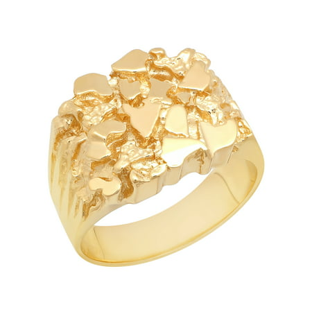 Gold Nugget Inlay (Men's 14K Gold Plated Sterling Silver Nugget Ring – Mens Rings )