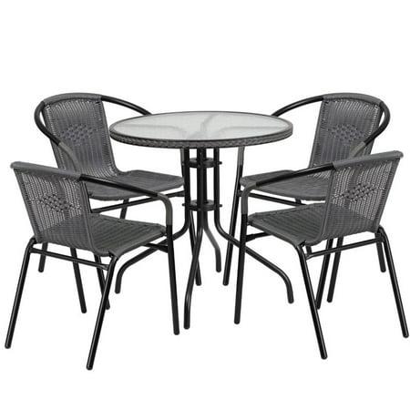 Scranton & Co 5 Piece Round Patio Dining Set in Black and Gray ()