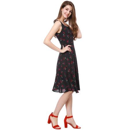 Unique Bargains Women's 1950s Sleeveless Cherry Print Midi Flare Vintage Dress Black (Size M / 10) - image 5 of 6