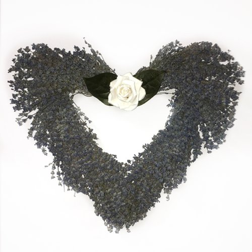 August Grove English 19'' Lavender Heart Wreath with Rose
