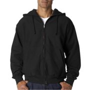 Weatherproof 7711 Adult Cross Weave Full-Zip Hooded Sweatshirt - Black, XL