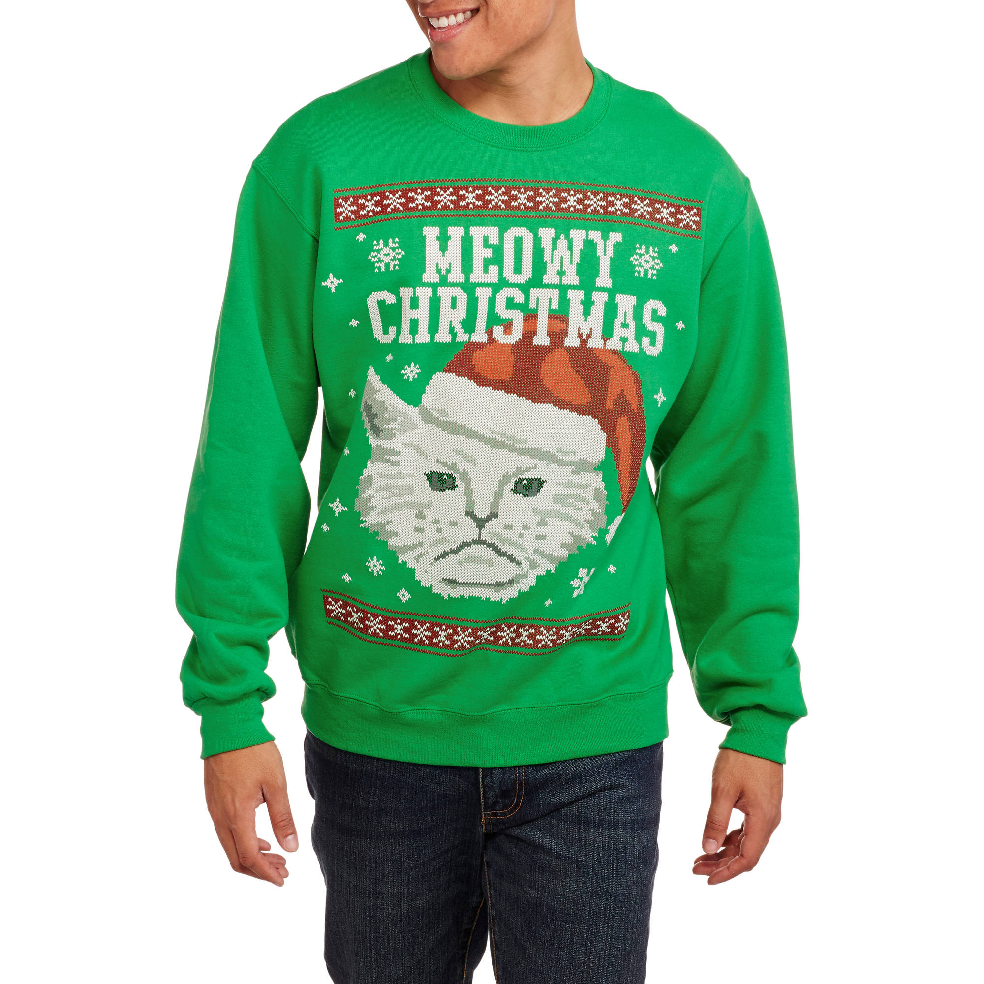 Meowy Christmas Men's Graphic Christmas Fleece