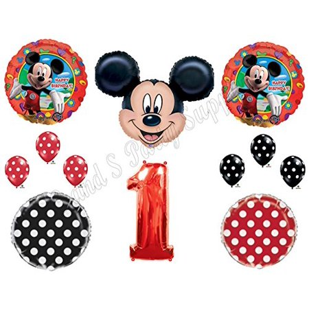 Red MICKEY MOUSE 1st Birthday Party Balloons Decoration Supplies First Disney - Red And Black 50th Birthday Decorations