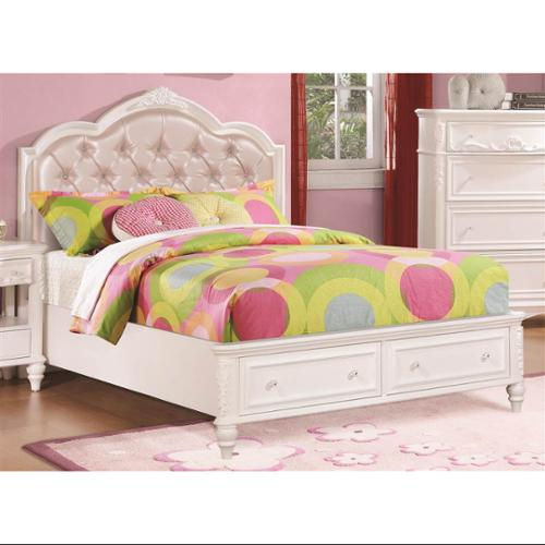 Bed with Upholstered Headboard (Twin - 83.25 in. L x 41.5 in. W x 50 in. H)
